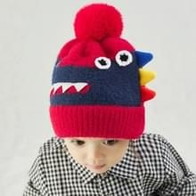 Cartoon DinosaurUs Kinderen Woolen Hat Herfst Winter Gebreide Hoed  Grootte: Vrije maat (Rood)