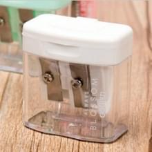 Dubbele gaten kunststof potlood slijpers Candy Color transparante standaard potlood snij machine (wit)