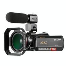ORDRO AC5 4K HD Night Vision WiFi 12x Optical Zoom Digitale Video DV Camera Camcorder  Style:Standard + Microfoon(Zwart)