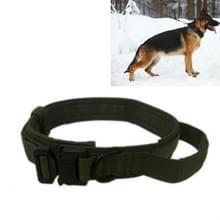 Nylon verdikt grote en middelgrote hond tractie halsband pet kraag  grootte: M (Leger Groen)