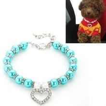 5 PCS Pet Supplies Pearl Ketting Pet Collars Kat en Hond Accessoires  Grootte: M (Lake Blue)