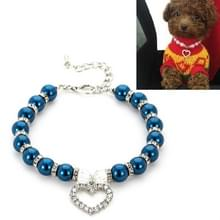 5 PCS Pet Supplies Pearl Ketting Pet Collars Kat en Hond Accessoires  Maat: M (Donkerblauw)