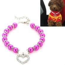 5 PCS Pet Supplies Pearl Ketting Pet Collars Kat en Hond Accessoires  Grootte: L (Paars Rood)