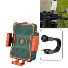 Motorfiets beugel elektrische fiets rijden mobiele telefoon beugel Takeaway rijder Navigatie schokbestendige beugel  Stijl: Achteruitkijkspiegel Installatie (Groen)
