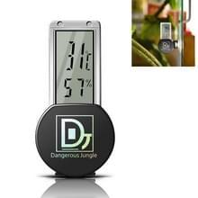 Klimmen Pet Reptile Box Regenwoud cilinder kameleon zuigbeker thermometer Hygrometer (Zwart)