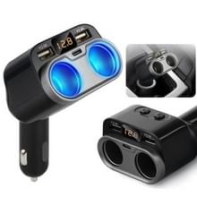 C47 Auto Charger Sigarettenaansteker Dubbele USB Type-C met schakelaar en spanningsdisplay