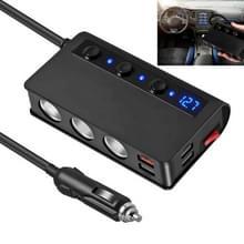 TR24 Universal Car 3 in 1 sigaret lichtere poort lader 4-poorts USB-lader met onafhankelijke schakelaar