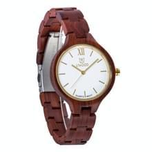 UWOOD UW-1003 Houten horloge ronde wijzerplaat Quartz Horloge voor dames(rood)