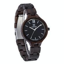 UWOOD UW-1003 Houten horloge ronde wijzerplaat Quartz Horloge voor dames(zwart)