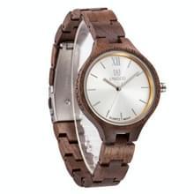 UWOOD UW-1003 Houten horloge ronde wijzerplaat Quartz Horloge voor dames(walnoot)