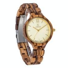 UWOOD UW-1003 Houten horloge ronde wijzerplaat Quartz Horloge voor Dames (Zebra Hout)
