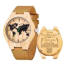 MUJUZE MU-1004 World Map Patroon Wijzerplaat Belettering Houten horloge (voor man 1)