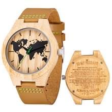 MUJUZE MU-1004 World Map Patroon Wijzerplaat Belettering Houten horloge (voor man 2)