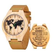 MUJUZE MU-1004 World Map Patroon Wijzerplaat Letters houten horloge (Papa naar Zoon 1)