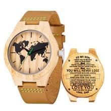 MUJUZE MU-1004 World Map Patroon Wijzerplaat Letters houten horloge (Papa naar Zoon 2)