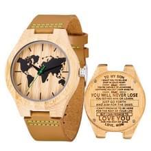 MUJUZE MU-1004 World Map Patroon Wijzerplaat Letters houten horloge (moeder op zoon)