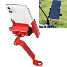 FIETSBOX Aluminium Legering mobiele telefoon houder fiets rijden Afhaalbare metalen mobiele telefoon beugel  stijl: achteruitkijkspiegel installatie (rood)