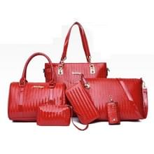 6 in 1 Dames Fashion Messenger Bag Grote Capaciteit Tas (Rood)