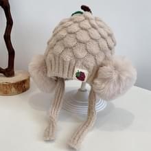 MZ9848 Fruit Pineapple Shape Hat Baby Knitted Hat Children Winter Warm Woolen Hat Bomber Hat  Maat: Geschikt voor 3-16 maanden Baby (Beige)