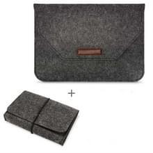 Draagbare Air Permeable voelde mouw tas voor MacBook laptop  met Power opbergtas  grootte: 15 inch (zwart)