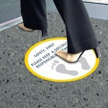15 PCS Crowd Spacing Stickers Social Distance Waarschuwingsborden (Rond Geel Wit)