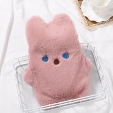 Draagbare lek-proof en warme cartoon pluche konijn water injectie warm water fles 450ml (Leder Roze)