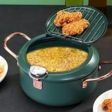 24cm Fryer Pot huishouden non-stick pan temperatuurregeling mini frituurpot (olijfgroen)
