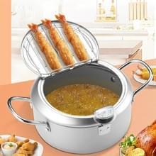 20cm Fryer Pot Huishouden Non-Stick Pan Temperatuur Control Mini Frituurpot (Zilver)