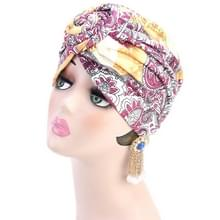 3 PCS TJM-342 Katoen whirlpool bloem vorm tulband hoed (geel roze)