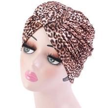 3 PCS TJM-342 Katoen whirlpool bloem vorm tulband hoed (Leopard Brown)