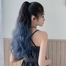 Pruik Paardenstaart Curly Hair Gradient Kleur Lang haar realistische fluffy Clip Chemical Fiber Wig Braid (Bruin-zwarte Gradiënt Haze Blue 53cm)