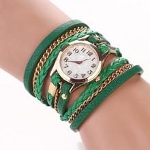 2 PCS Gevlochten band horloge PU lederen wikkelingenband horloge Quartz Horloge (Groen)
