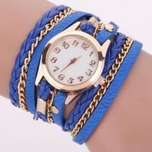 2 PCS Gevlochten band horloge PU lederen wikkelingenband horloge Quartz Horloge (Sapphire)