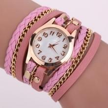 2 PCS Gevlochten band horloge PU lederen wikkelingenband horloge Quartz Horloge (Roze)