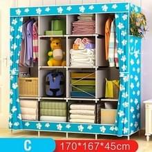 Multifunctionele kledingkast stof opvouwbare doek opbergkast DIY montage eenvoudig te installeren versterking garderobe kast (blauwe enkel)