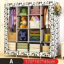 Multifunctionele kledingkast stof opvouwbare doek opbergkast DIY montage eenvoudig te installeren versterking garderobe kast (zwart-wit)