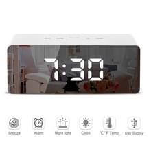 LED spiegel wekker digitale Snooze tabel elektronische tijd temperatuur grote klokdisplay met wek-licht wit licht