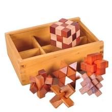 6 PCS / Set Volwassen houten educatieve intelligentie speelgoed klassieke speelgoed Kongming Slot Luban Slot houten doos