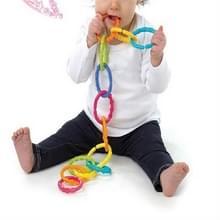 6 stuks baby Rainbow Circle link Molar tanden ring Grab ring baby bed opknoping kleur ring speelgoed (zes-ring regenboog cirkel)