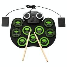 Portable Hand Roll Electronic Drum Flashing Light Bluetooth Drum (Icon Version + Black Green)