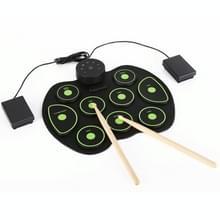 Draagbare handgerolde drumset muziek vroeg onderwijs Simulatie Jazz Drum Practice Drum (Groen)