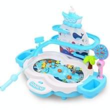 Multifunctionele elektrische visserij speelgoed kinderen educatieve magnetische levitatie track muziek licht spel machine (Blauw)