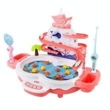 Multifunctionele elektrische visserij speelgoed kinderen educatieve magnetische levitatie track muziek light game machine (Roze)