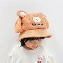 Herfst en winter verdikt kinderen oorbescherming Fisherman Hat Corduroy Hoed met gloeiende beer patroon  grootte: Hoofdomtrek 52cm (Oranje)
