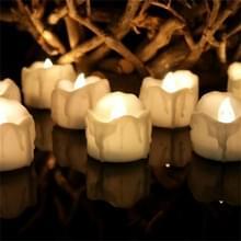 12 STKS/doos LED kaars elektronische thee Wax simulatie tranen elektronische kaarslicht bruiloft decoratie kaarslicht (warm wit)