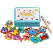 Baby Kitten Vissen Speelgoed Houten Magnetic Early Education Puzzel Spel (Blauw)