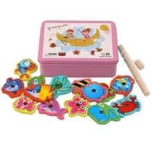 Baby Kitten Vissen Speelgoed Houten Magnetic Early Education PuzzelSpel (Roze)