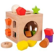 Beech 17-Hole Intelligence Box Geometrische vorm matching cognitieve speelgoed vroege onderwijs puzzel speelgoed (Rainbow Color)