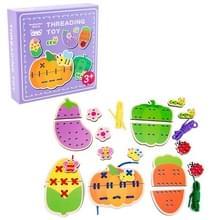 KBX-314 Kinderen Educatieve Fruit Animal Threading Board Baby Early Education Houten Speelgoed (Groenten)