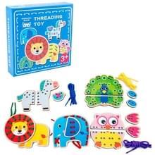 KBX-314 Kinderen Educatieve Fruit Animal Threading Board Baby Early Education Houten Speelgoed (Lion Animal)